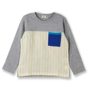 ブランシェス(branshes)/ストライプ切替え長袖Tシャツ