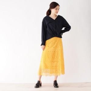 インデックス(index)/【洗える】ペチコート付き巻きレーススカート
