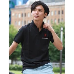 ジョルダーノ(メンズ)(GIORDANO)/ライクラ素材【ストレッチ抜群】ラインポケットライオン刺繍ポロシャツ