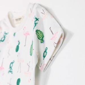 ブランシェス(branshes)/【TioTio加工】フラミンゴ柄半袖Tシャツ
