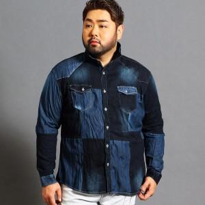 ハイダウェイ(大きいサイズ)(HIDEAWAYS)/<大きいサイズ>パネル切り替えデニムシャツ