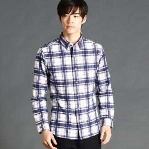 ニコルクラブフォーメン(NICOLE CLUB FOR MEN)/ジャガード織り先染めチェック柄シャツ