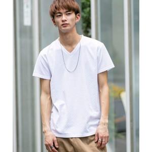 A・S・M(A.S.M)/市松柄 ブロック ジャカード / Vネック Tシャツ(半袖)
