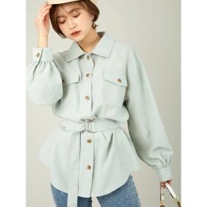 セシルマクビー(CECIL McBEE)/ベルト付きリネンライクCPOシャツ