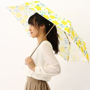 エスタ(estaa)/雨傘(3段/折りたたみ/ミニ/楽々開閉)【軽量/UVケア/グラス骨】手描きフラワー(レディース)