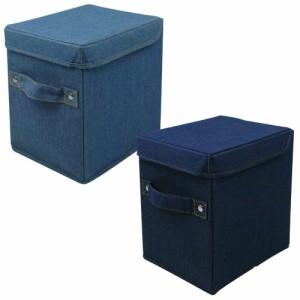 93a93eaec3 L.S.M. デニム調 カラーボックス用収納ボックス 蓋つき ハーフサイズ
