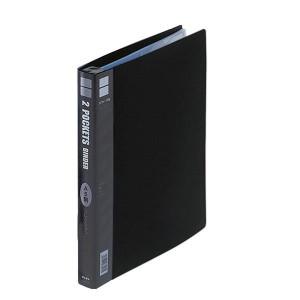 コレクト ポケットバインダー 2段区切り ブラック A4-L 30穴 S-342-BK