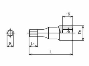 TONE SUSヘキサゴンソケット 差込角12.7mm/二面幅寸法12mm
