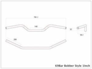 モーターロック 汎用 ハンドル関連パーツ 69バー ボバースタイル Lathe 1インチ ディンプル無し ブラック