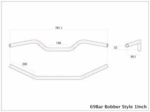 モーターロック 汎用 ハンドル関連パーツ 69バー ボバースタイル Lathe 1インチ ディンプル無し ポリッシュ