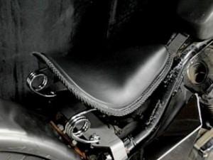 部品屋K&W スティード400 シート関連パーツ 専用ソロシートKIT スプリングタイプ(本革レース編み込みサドルシート) タン