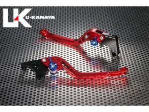 ユーカナヤ VFR400R レバー GPタイプ アルミ削り出しビレットレバー(レバーカラー:レッド) シルバー