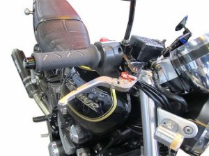 ユーカナヤ スクランブラー レバー Rタイプ 可倒式 アルミ削り出しビレットレバー(レバーカラー:ゴールド) 調整アジャスター…