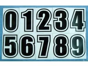力造 ゼッケンナンバーステッカーII 文字色:赤文字 番号:8番