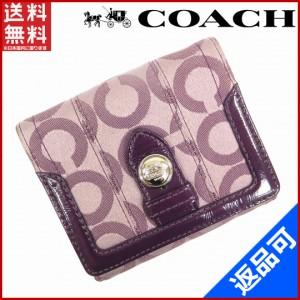97a0c4a965e0 コーチ 財布 COACH 二つ折り財布 Wホック財布 パープル 良品 即納 【中古】 X14764