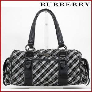 バーバリー バッグ BURBERRY ハンドバッグ ブラック×ホワイト 即納 【中古】 X16697