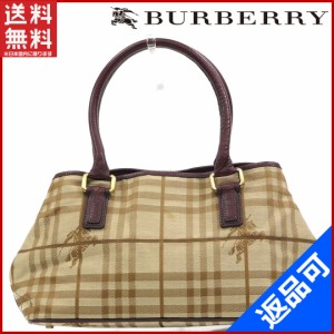 バーバリー バッグ BURBERRY ハンドバッグ ベージュ×ブラウン 即納 【中古】 X16902