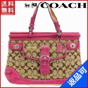 307895d8fcd3 コーチ バッグ COACH トートバッグ ハンドバッグ ピンク×ベージュ 人気 良品 【中古】 X7222