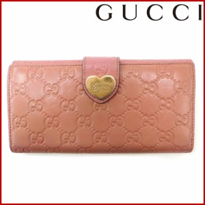 e8f623034765 グッチ 財布 GUCCI 長財布 Wホック 二つ折り ハートプレート付き ピンク×ゴールド 人気