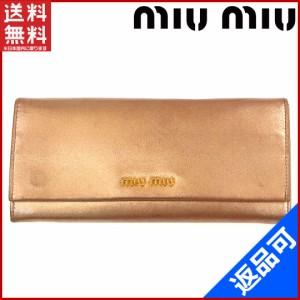4700d7b6d182 ミュウミュウ 財布 miumiu 長財布 ピンクゴールド 激安 即納 【中古】 X8306