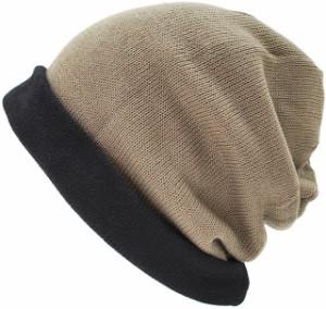 LP-01 ロング リバーシブルBIGWATCH /ブラック/ベージュ黒ベージュ/ニットキャップ/ルーズ/ニットワッチ/ニット帽