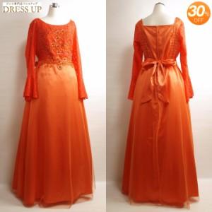 ロングドレス 大きいサイズ カラオケ衣装 3Lサイズ 長袖 カラオケドレス オレンジ [セール品] E1785O3L-SALE