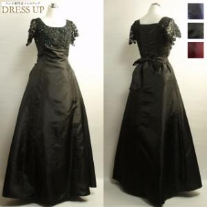 aea07f1104bea ロングドレス 演奏会 黒 ロング丈 ステージドレス 半袖 袖付き パーティードレス カラオケ衣装 E2288KF