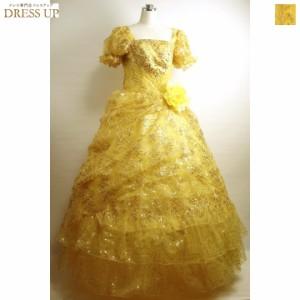 9df477774ed6c  送料無料  ステージ衣装ロング ゴールドスパンコール煌びやかなボリューム姫ドレス イエロー E7639YL