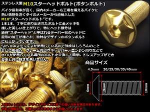 M10×40mm スターヘッドボルト ボタンボルト ステンレス 削り出し ゴールド TR0614