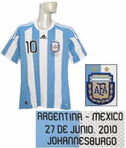 (アディダス) adidas/10/11アルゼンチン代表/ホーム/半袖/メッシ/決勝トーナメント/メキシコ戦/マッチデープリント