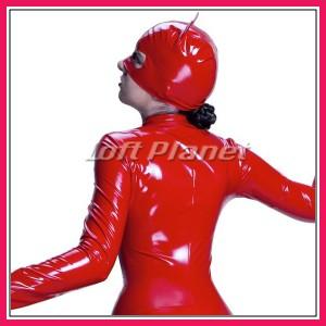 キャットスーツ ボンテージのクロッチオープン&PVCエナメル3点セット赤 M1-N9745