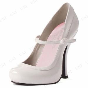 ベビードール・メリージェーンストラップシューズ ホワイト 27cm コスプレ 衣装 ハロウィン パーティー 靴 ハイヒール パンプス