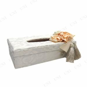 アクアフラワー ティッシュBOXケース ホワイト インテリア雑貨 ティッシュケース ティッシュカバー ボックスティッシュ用 箱ティッシュ