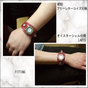 腕時計 革 レザーウォッチ クォーツ リアルストーン SILVER925 コンチョ ブレスレット 日本製 レッド tki-r
