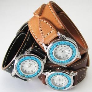 腕時計 革 レザーウォッチ クォーツ リアルストーン ブレスレット 日本製 tki5