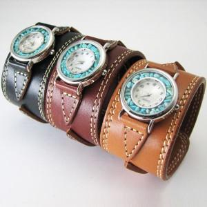 腕時計 革 レザーウォッチ クォーツ リアルストーン ブレスレット 日本製 tki6