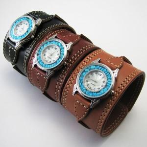 腕時計 革 レザーウォッチ クォーツ リアルストーン ブレスレット 日本製 tki7
