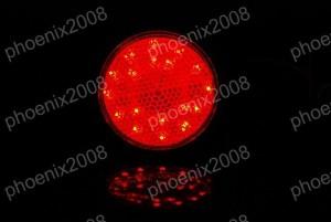 1696 ATV 四輪バギー トライク LED リフレクター 3本線 赤 丸型