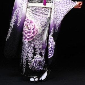 振袖 お買上げ 30点セット Whiteパープル藤牡丹 M102 振袖セット 成人式 結婚式