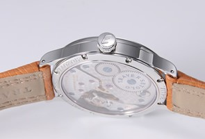 エベラール  腕時計 トラベルセトロ ビトレ ライトハンズ ブラック/ライトブラウンレザー 21020.6VZ