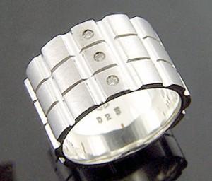 KEN BLOOD ケンブラッド シルバー リング 指輪 メンズ レディース 3ダイヤモンド KB-KR-117