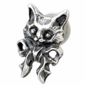 ピアス レディース NORA ノラ シルバー 子ネコのリボンの 1個売り片耳用猫ねこ NR-PE-0003