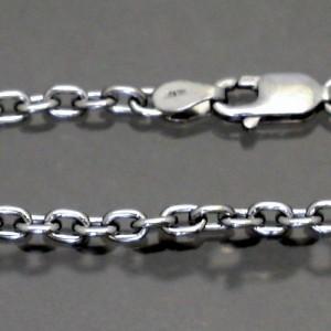 ネックレスチェーン メンズ ロジウムコーティングアズキシルバーチェーンブラック50cmカラーチェーンRM-CL080-BK-50