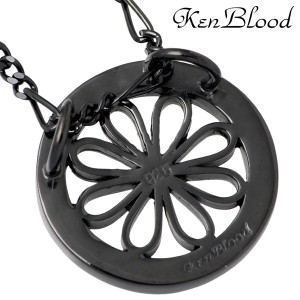 KEN BLOOD ケンブラッド シルバー ネックレス メンズ レディース フローラル Sブラックコーティング KB-KP-287BK