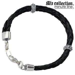 M's collection エムズコレクション シルバー ブレスレット メンズ レザー ブラックMC029