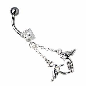 ボディーピアス Body Jewelry バナナジュエルハートウィング医療用サージカル【316L】ステンレスTBSH06
