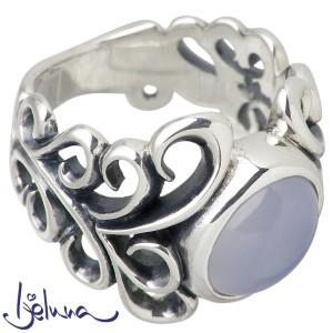 Ijeluna アイジェルナ リング 指輪 レディース シルバー アラベスクフレア8X10mmブルーカルセドニー ストーン IJ-062RS-BLUE