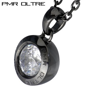 ネックレス メンズ レディース PMR OLTRE ピーエムアールオルトレ シルバー ラウンド キュービックジルコニア ブラック OLP004CZ-BK