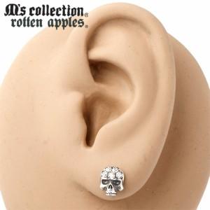 M's collection エムズコレクション シルバー ピアス メンズ レディース スカル& キュービックジルコニア スタッド 1個売りR0002