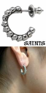 ピアス メンズ レディース SAINTS セインツ シルバー 12使徒スカル 1個売り片耳用 SSE8-37